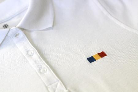 Tricou Tricolor Polo, broderie, damă, culoare albă [2]