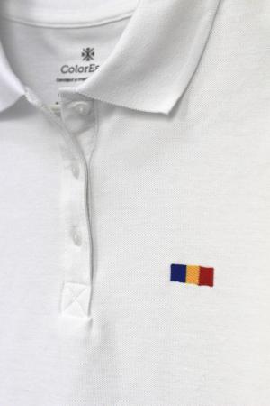 Tricou Tricolor Polo, broderie, damă, culoare albă [1]