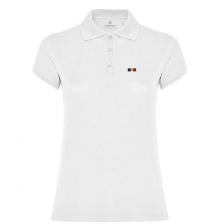 Tricou Tricolor Polo, broderie, damă, culoare albă [0]