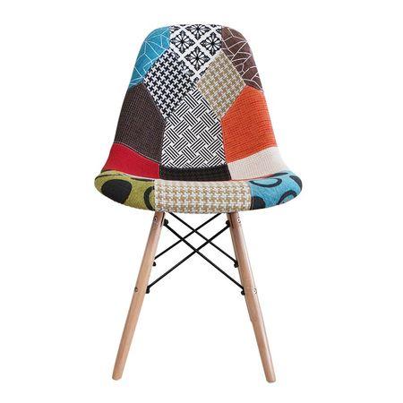 Scaun dining CATCHY, textil tip Patchwork, picioare lemn+metal 1
