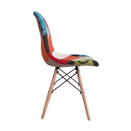 Scaun dining CATCHY, textil tip Patchwork, picioare lemn+metal 2