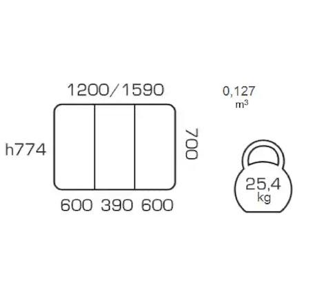 Masa de bucatarie extensibila IMOLA, 120(160)X70 cm, Beige 3