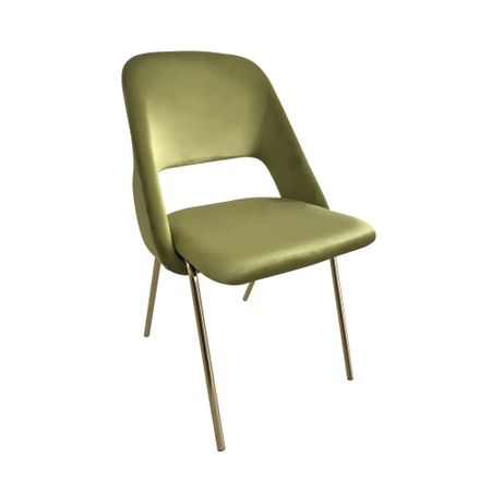 Scaun dining MEGAS, catifea, picioare aurii, verde lime [0]