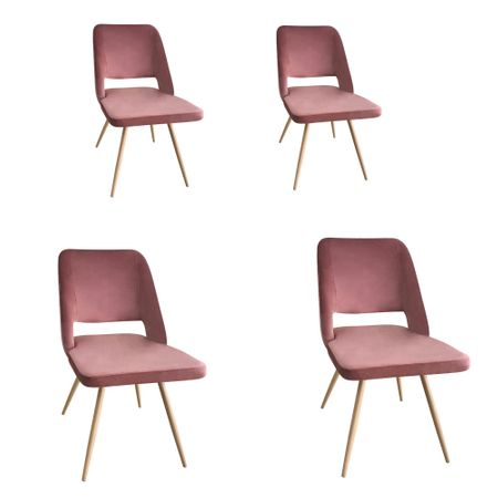 Set 4 scaune dining MANGO, catifea, picioare metalice, carmin 0