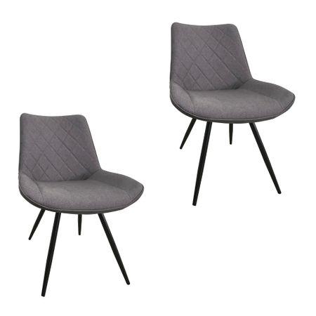 Set 2 scaune dining METTA, textil, picioare metalice, gri [0]