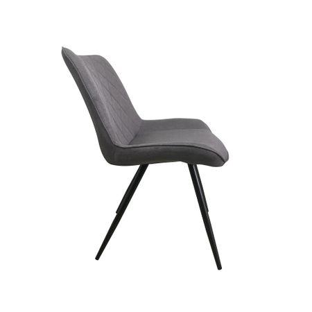 Set 2 scaune dining METTA, textil, picioare metalice, gri [3]