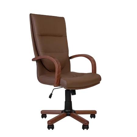 Set 2 scaune directoriale EXONIA EXTRA, brate din lemn, piele ecologica, Brun inchis [1]