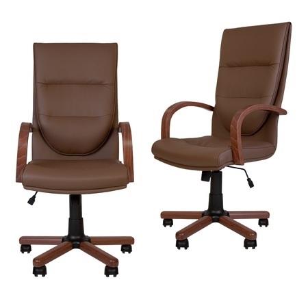 Set 2 scaune directoriale EXONIA EXTRA, brate din lemn, piele ecologica, Brun inchis [0]