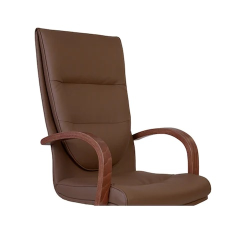 Set 2 scaune directoriale EXONIA EXTRA, brate din lemn, piele ecologica, Brun inchis [4]