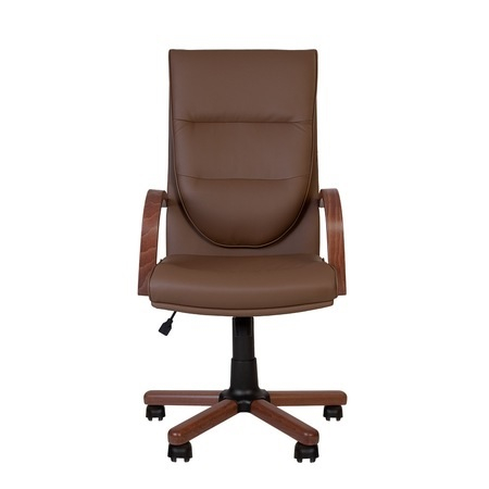 Set 2 scaune directoriale EXONIA EXTRA, brate din lemn, piele ecologica, Brun inchis [6]