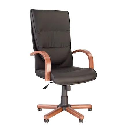 Set 2 scaune directoriale EXONIA EXTRA, brate din lemn, piele ecologica, Negru [1]