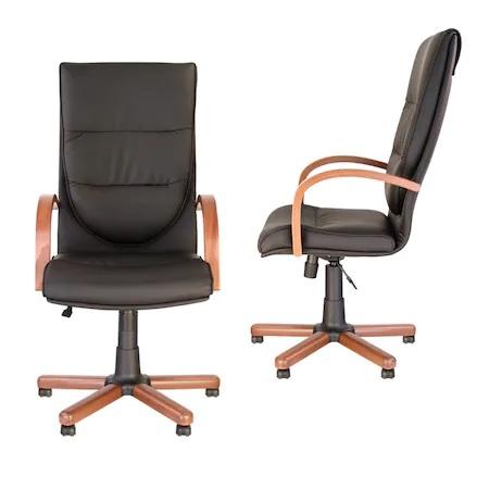 Set 2 scaune directoriale EXONIA EXTRA, brate din lemn, piele ecologica, Negru [0]