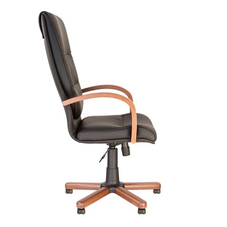 Set 2 scaune directoriale EXONIA EXTRA, brate din lemn, piele ecologica, Negru [4]