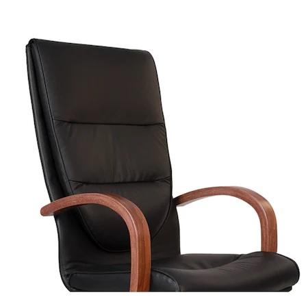 Scaun directorial EXONIA EXTRA, brate din lemn, piele naturala, negru [1]