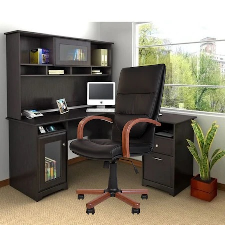 Set 2 scaune directoriale EXONIA EXTRA, brate din lemn, piele naturala, negru [4]