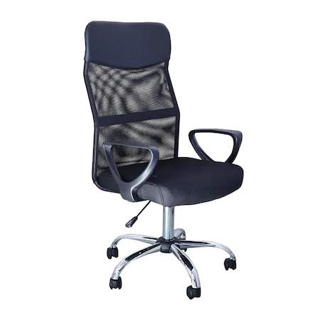 Scaun de birou ergonomic BENZA, Mesh, Negru [0]