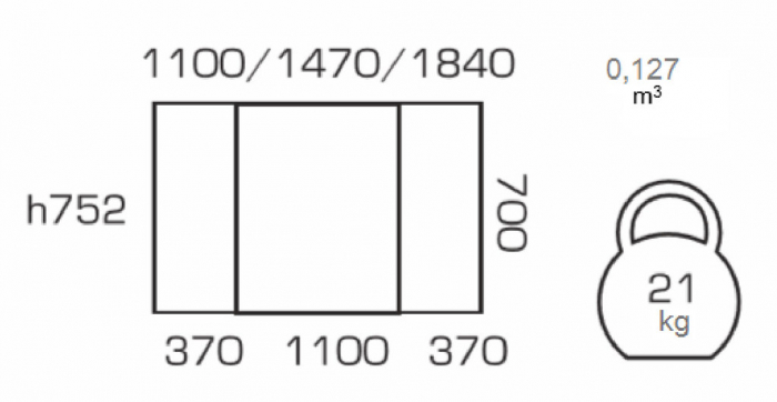 Masa de bucatarie extensibila CANVAS, 110(147/184)*70, Wenge [3]