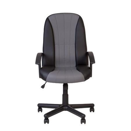 Set 2 scaune directoriale CIUDAD, piele ecologica, negru/gri [5]