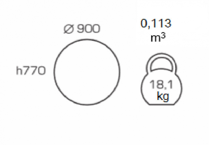 Masa de bucatarie GREMY, D900 mm, White [1]