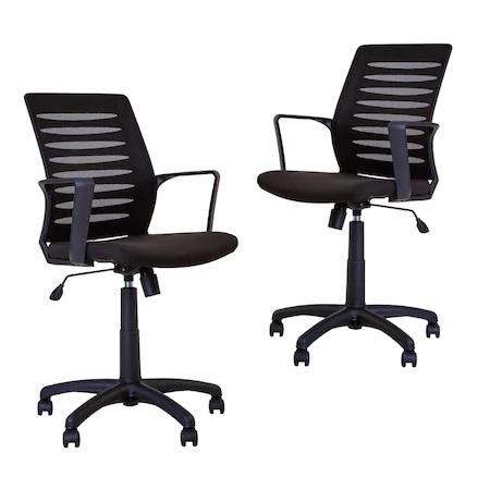 Set 2 scaune de birou MASTER GTP, cu brate, mesh/textil, negru [0]