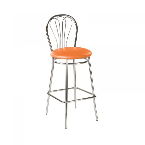 Scaun de bar Picard Hoker, portocaliu, piele ecologica 1