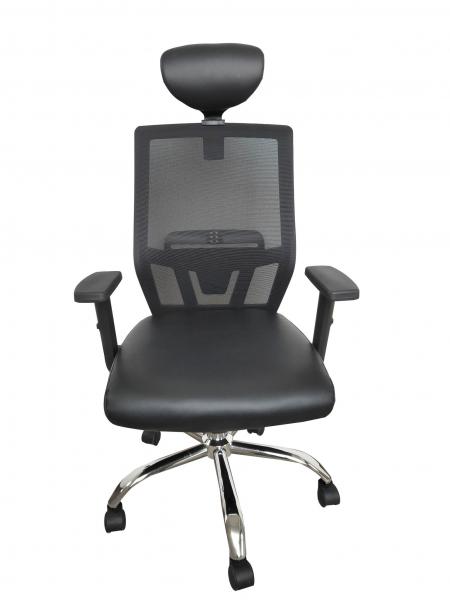 Scaun de birou ergonomic BONANZA, PU+Mesh, cu suport lombar si tetiera 0