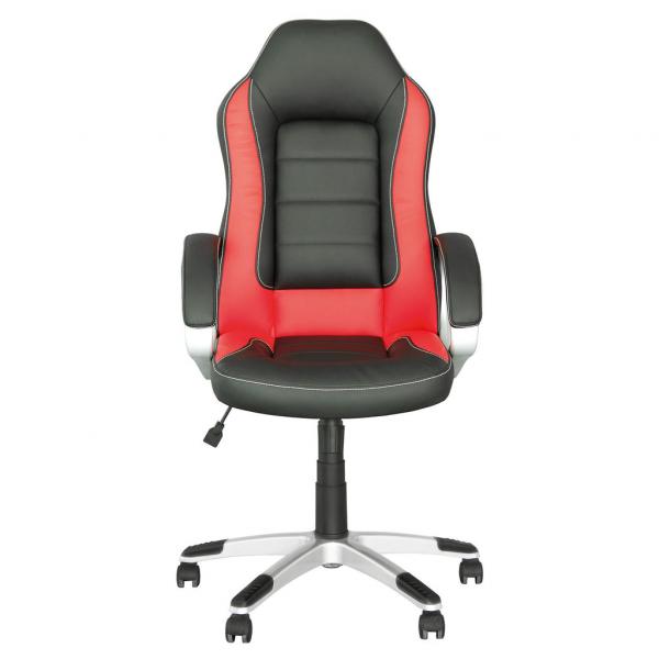 Scaun de birou gaming RECO, Negru-rosu piele ecologica 1