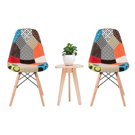 Scaun dining CATCHY, textil tip Patchwork, picioare lemn+metal 4