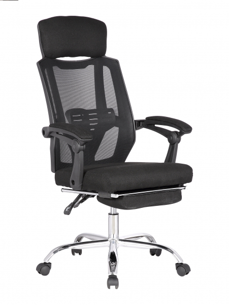 Scaun directorial ergonomic ZEN, Negru, Mesh/Textil cu extensie picioare [0]