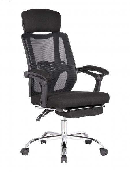 Scaun directorial ergonomic MESHY, Negru, Mesh/Textil cu extensie picioare [0]