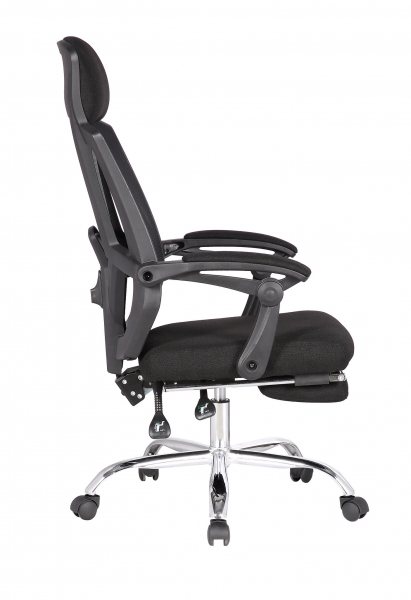 Scaun directorial ergonomic MESHY, Negru, Mesh/Textil cu extensie picioare [2]