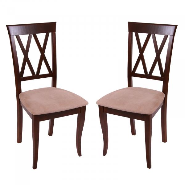 Set 2 scaune Milano, Lemn, Nut/Misty beige 0