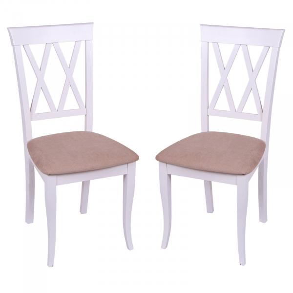 Set 2 scaune Milano, Lemn, White Misty Beige conceptmobili 2021