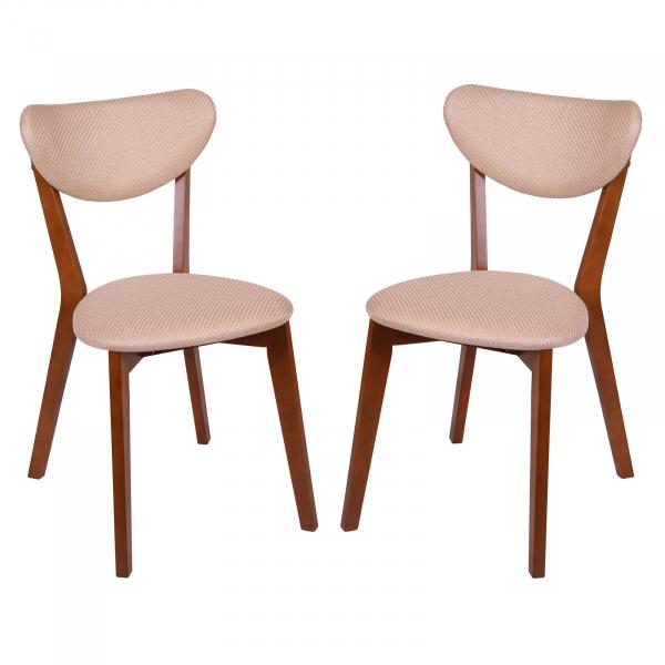 Set 2 scaune Neo M, Lemn, Walnut Brighton Beige conceptmobili 2021