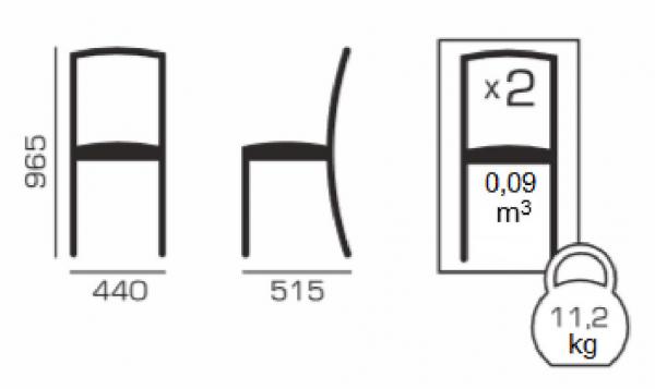 Set 2 scaune Wooden 2, Lemn, Wenge/Veles 14 5