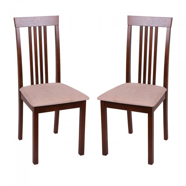 Set 2 scaune Wooden, Lemn, Nut/Misty beige 0