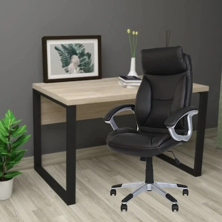 Set 2 scaune directoriale KAVIS, piele naturala, negru [4]