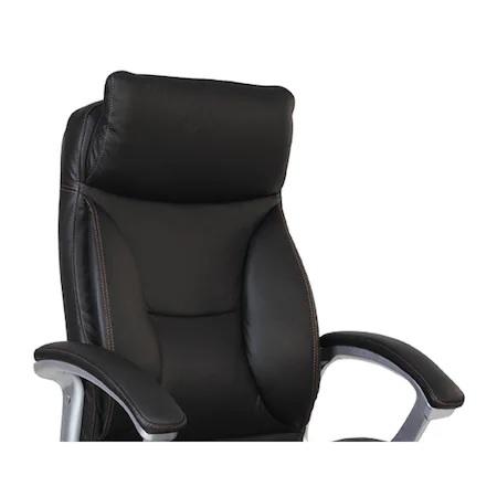 Set 2 scaune directoriale KAVIS, piele naturala, negru [3]