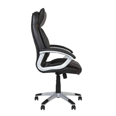 Set 2 scaune directoriale KAVIS, piele naturala, negru [2]
