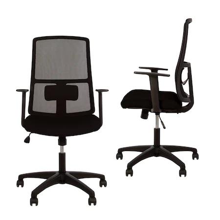 Set 2 scaune de birou MERCAS, cu brate, mesh/textil, negru [0]