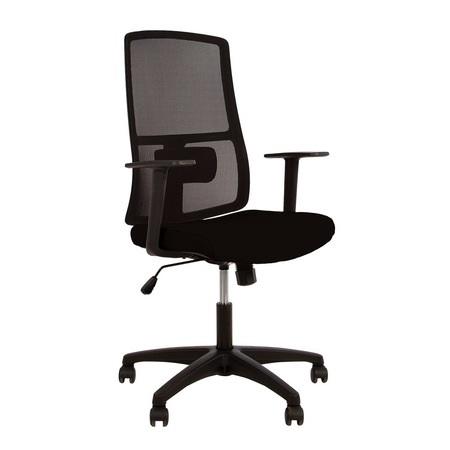 Set 2 scaune de birou MERCAS, cu brate, mesh/textil, negru [1]