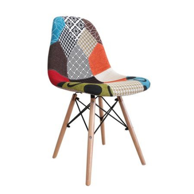 Scaun dining CATCHY, textil tip Patchwork, picioare lemn+metal0