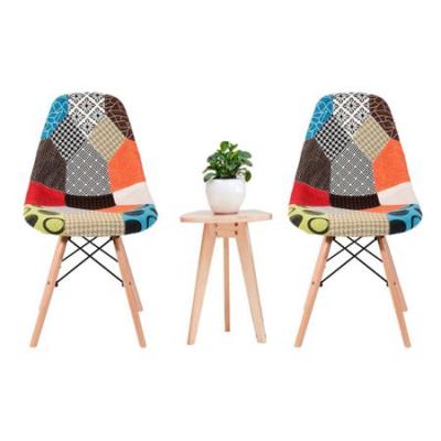 Scaun dining CATCHY, textil tip Patchwork, picioare lemn+metal3