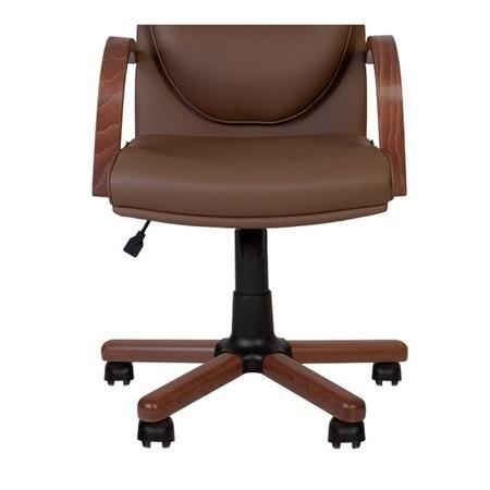 Set 2 scaune directoriale EXONIA EXTRA, brate din lemn, piele ecologica, Brun inchis [2]