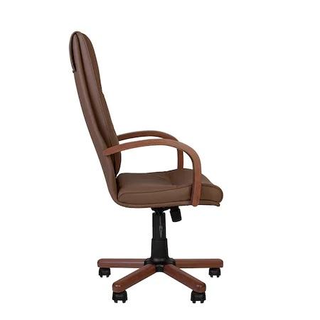 Set 2 scaune directoriale EXONIA EXTRA, brate din lemn, piele ecologica, Brun inchis [5]