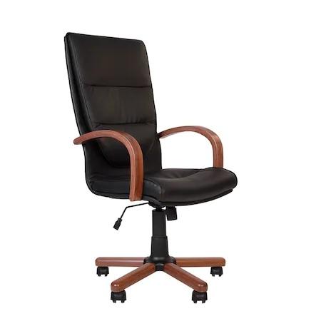 Set 2 scaune directoriale EXONIA EXTRA, brate din lemn, piele naturala, negru [1]