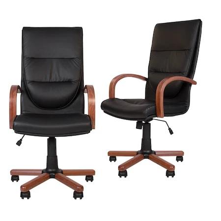 Set 2 scaune directoriale EXONIA EXTRA, brate din lemn, piele naturala, negru [0]