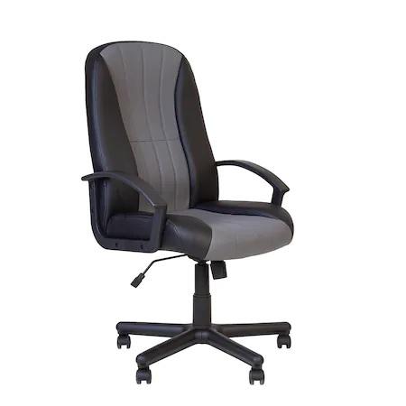 Set 2 scaune directoriale CIUDAD, piele ecologica, negru/gri [1]