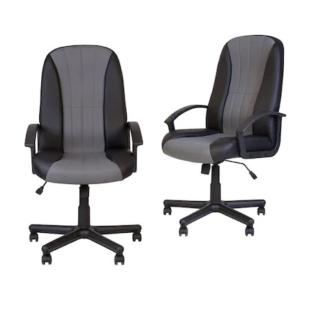 Set 2 scaune directoriale CIUDAD, piele ecologica, negru/gri [0]
