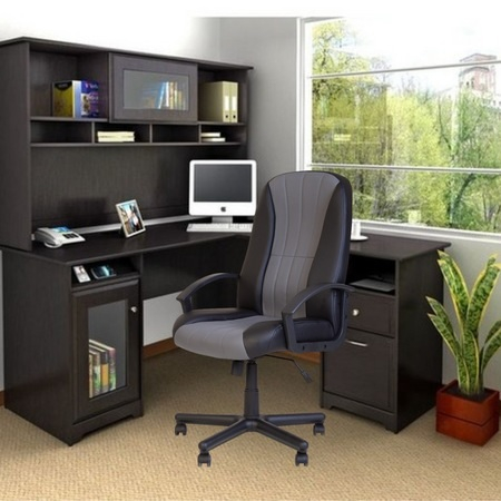 Set 2 scaune directoriale CIUDAD, piele ecologica, negru/gri [2]